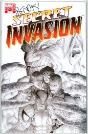 Secret Invasion #1 Sketch Variant Dynamic Forces Signed Brian Bendis DF COA Ltd 4 Marvel comic book